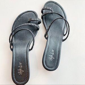 Style & Co. Black beaded Demi wedge sandal